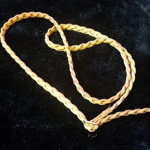 Express yellow braided leather belt
